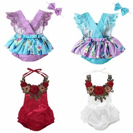 Wholesale girls outfits size 4t - 2018 Ins Baby kids summer girl romper round collar hollow out back romper boutique outfits elegant flower summer girl romper 4 color