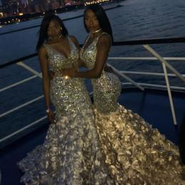 abiti da sposa per le ragazze formato 14 Sconti Bling Bling Mermaid Prom Dresses Perline scollo a V sexy cristalli 3D Rose Floral per le ragazze nere Abiti da spettacolo africano sera Plus Size