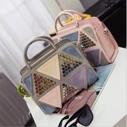 Wholesale Kinds Cell Phones - 2016 new Korean fashion shoot in kind rivets stitching bag ladies hand shoulder Messenger bag