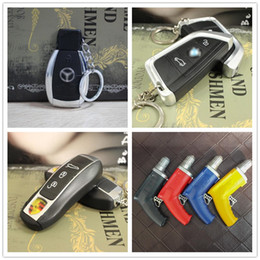 tools pendants Promo Codes - Newest Car Key Keychain Shaped Butane Lighter Windproof Metal Plastic Pendant Lighter NO Gas For Smoking Cigarette Kitchen Tools 4 Styles
