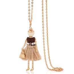 Wholesale Woman Fashion Doll Dresses - french paris vintage necklace dress long chain doll statement choker pendant fashion jewelry big tassel necklace for women 2017