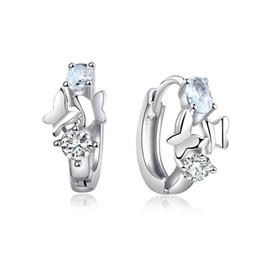 Wholesale Wonderful Earrings - whole saleSHUANGR Wonderful Elegant Crystal Hoop Earrings Jewelry Silver Color Shiny Butterfly Party women Accessories