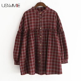 Wholesale Top Mori - USWMIE 2018 Spring Women Blouses New Mori Girl Style Literature Plaid Lace Lantern Sleeve Doll Shirt Stand Collar Comfort Tops