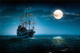 Wholesale Sea Photography Backdrops - Full Moon Night Dark Blue Sky Sea Pirate Ship Photography Backdrops Printed Kids Children Stage Party Photo Booth Backgrounds for Studio