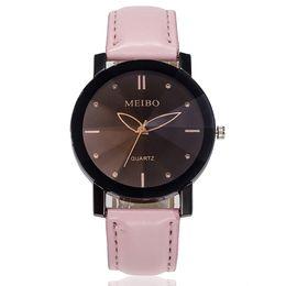 Женские часы ремень онлайн-Women Watches Beautiful Fashion Simple Watch Ladies Leather Belt Watch For Gift relogio masculino men