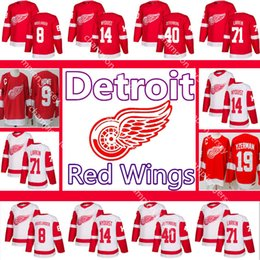 Gordie howe jersey онлайн-Мужские Detroit Red Wings Джерси 71 Дилан Ларкин Густав Найквист Джастин Абделькадер Хенрик Цеттерберг 9 Горди Хоу Стив Изерман хоккейные майки