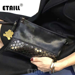 Wholesale Celebrity Bags Genuine Leather - ETAILL 2018 Studded Horsehair Genuine Leather Envelope Rivet Clutch Famous Luxury Real Leather Bag Women Messenger Celebrity Bag