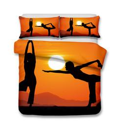 3d florales cama reina online-Juego de cama para adultos Yoga 3pcs Funda nórdica Funda de almohada Queen Size Todo talla A
