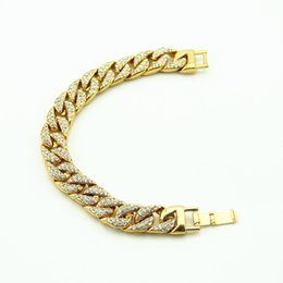 Wholesale 14k Cuban Bracelet - Men's Luxury Simulated Diamond Fashion Bracelets & Bangles High Quality Gold Plated Iced Out Miami Cuban Bracelet Hip Hop