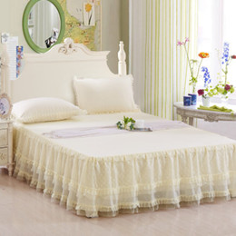 ivory lace bedding Coupons - Summer style lace bed skirt Korean solid bed cover princess romantic bedspread pastoral sheet full queen king beige pink