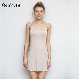Wholesale White Lingerie Skirt - RenYvtil 2017 Women's Summer Sexy Sleeveless Skirt Bathrobe Nightdress 100% Silk Lingerie Good Air Permeability Sleep Wear Dress