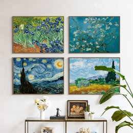 Wholesale Oil House - 07G Van Gogh Oil Painting Works Sunflower Apricot Abstract A4 A3 A2 Canvas Art Print Poster Picture Wall House Decoration Murals