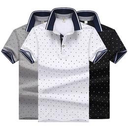 camisa causal da forma do homem Desconto Polo de moda Mens Cor Sólida Camisas Polo Camisas Causal Verão Pólo Camisa Homens High Street Dot Impresso Algodão Mistura Camisas T-shirt M-4XL