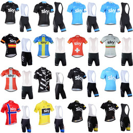 Wholesale Team Sky Jersey Bib - Pro team 2018 Sky Mountain Racing Cycling Jersey Clothing Breathable Bicycle Short Sleeve Ropa Ciclismo Bike Bib Shorts Sportswear Set 33019