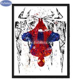 pintura do diamante Desconto Super-heróis da aguarela pintura diamante parede, adesivo, praça cheia, ponto de cruz, venda de bordados de diamante, 5D natal, imagens de mosaico