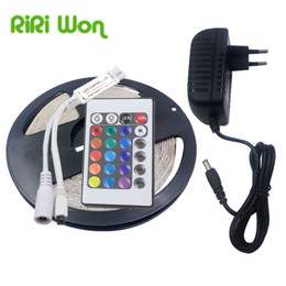 Wholesale Diode Ribbon - RGB LED Strip Light Waterproof 5M SMD2835 LED Strip Ribbon Flexible dc 12V Tape Diode with ir Controller 2A power adapter EU