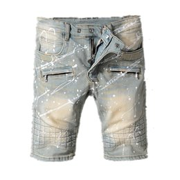 Wholesale graffiti rip - New Arrive 2018 High quality balmain Men Short Jeans Graffiti Cotton Trousers Ripped Board Slim Jean Pocket Nightclub Holes Casual jeans