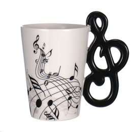 Wholesale Music Mugs - Creative Guitar Ceramic Cup Personality Music Note Milk Juice Lemon Mug Coffee Tea Cup Home Office Drinkware Unique Gift 300ml