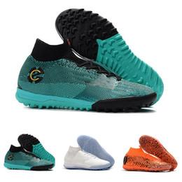 Venta CALIENTE 20 Aniversario 12 zapatos de fútbol Mercurial Superfly VI 360 Elite IC TF ronaldo calcetines de fútbol que hacen punto a prueba de agua size39-45 desde fabricantes