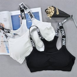Wholesale Thin Strap Vest - Pink Letter Bra Running Sports Shirts Yoga Gym Vest Push Up Fitness Tops Sexy Underwear Lady Crop Tops Shakeproof Adjustable Strap Bra A-580
