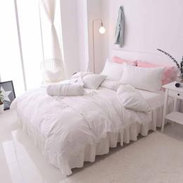 Wholesale Princess Wedding Duvet - Princess luxury100% cotton wedding bedding set bed skirt lace style bed set duvet cover king queen full size 7pcs