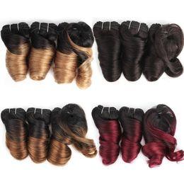 Поцелуй волосы романтика локон омбре мед блондинка бордовый коричневый каштановый Короткий боб стиль 3 шт. 155 г бразильский объемная волна ломбер волосы от