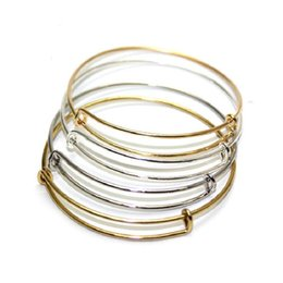 Wholesale Silver Tone Toggle Clasp - Fashion Expandable Wire Bangle Charms Bracelets Silver Gold Tone Copper Wire Adjustable Bangle Charm Love Bracelets For Beading Bangle