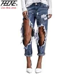 Wholesale Women S Torn Jeans - THHONE Brand Ripped Jeans Women Street Denim Pants Big Holes Torn Casual Trousers Vintage Pencil Pants Female Fashion Jeans