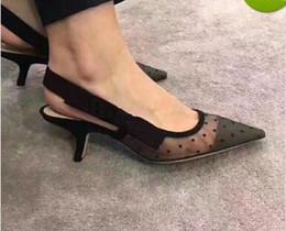 Wholesale ladies dress low heel sandals - Hot 2018 Letter Bow Knot High Heel Shoes Women Runway Pointed Toe Low Heel Shoes Woman Gladiaor Sandals Lady Brand Design Mesh Flat Shoes