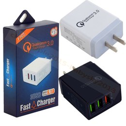 Wholesale ipad ac - Quick Charging Eu US UK QC 3.0 3 Usb ports Ac home travel wall charger for ipad iphone 7 8 x samsung s8 s9 android phone with retail box