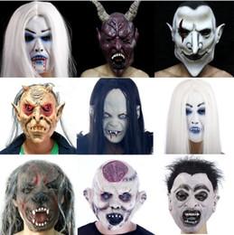 fremdes kleid Rabatt Party Latex Aliens Maske Grimasse Voller Kopf Ghost Helm Cosplay Kostüm Scary Halloween Kostüm Horror Vollgesichtsmasken festliche Veranstaltung Stütze