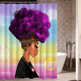 Wholesale Hair Style Afro - Wholesale-African Woman with Purple Afro Hair Shower Curtain Polyester Fabric Printing Bathroom Curtain Waterproof Home Product