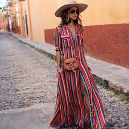 c86508dfabb 2018 Été Rayé Longue Maxi Robe Turn-down Col Imprimer Robe Femmes Casual  Lâche Plus La Taille Chemise Robes robe chemise maxi maxi pas cher