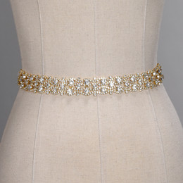Ceinture en satin de strass en Ligne-Ceintures de mariage à la main en cristal doré argent strass robe de mariée ceinture accessoires de mariage formel ceinture de ceinture de ruban de mariée CPA1393
