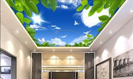 Wholesale Green Fabric Background - non-woven Wallpaper Ceiling Blue sky with white clouds Green leaf sun dove flying rainbow background painting