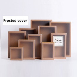 Wholesale Handmade Wedding Paper - 20pcs Frosted PVC Cover Kraft Paper Drawer Boxes DIY Handmade Soap Craft Jewel Box for Wedding Party Gift Packaging