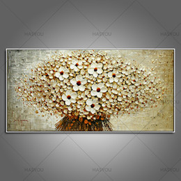 Wholesale Oil Painting Colours - Top handmade thick palette knife oil painting on canvas beige colour plain abstract flowers modern home decor wall art picture