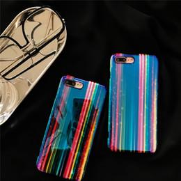 Casos móveis engraçados on-line-Blu-ray rainbow listras engraçado caso original do telefone móvel case para iphone6 6 s 6 plus 7 plus 8 plus x fashioncase personalidade