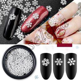 nail art design transparente Desconto Multi-tamanho Nail Art Nail Stickers Decalques Para Unhas Art Christmas Snowflake Series Lantejoulas floco de neve branco ultra-fino para o Natal