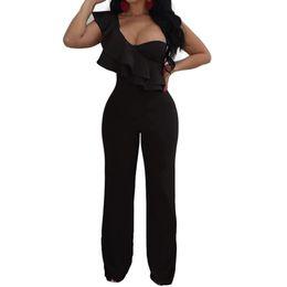 c942ce28d23a Summer Rompers Womens Jumpsuits Elegant Ruffles Jumpsuits Bodysuit Elastic  Overalls Bandage Playsuits Plus Size