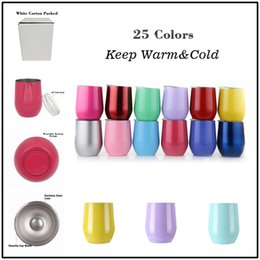 Wholesale Double Wall Color - Double walls 9OZ Egg Shaped Wine Glasses with Lid 304 Stainless Steel Solo Cups as Bar Gadgets