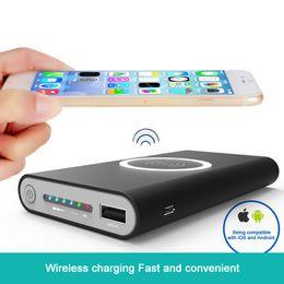 2019 резервный аккумулятор аккумуляторной батареи Портативный блок питания 10000mAh с QI Wirless Charging Pad Быстрое зарядное устройство для iPhone x 8 8 Plus Samsung Note 8