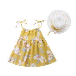 2019 vestidos de estilo princesa para meninas Mais novo estilo floral dress verão princesa bebê crianças meninas algodão dress recém-nascido infantil roupas de verão bonito vestidos de flores chapéu vestidos de estilo princesa para meninas barato