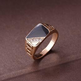 Argentina Joyería masculina de la manera anillo de bodas clásico del oro del Rhinestone del color anillos negros del esmalte para hombres regalo de la fiesta de Navidad Suministro