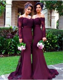Custom Made dentelle Applique Bourgogne sirène demoiselle d'honneur robes Sexy épaule manches longues soirée Prom robe demoiselle d'honneur robes CPS476 ? partir de fabricateur