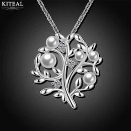 New Beautiful Fashion argent collier de femmes Arbre de vie Imitation perle pendentif colares amour ? partir de fabricateur