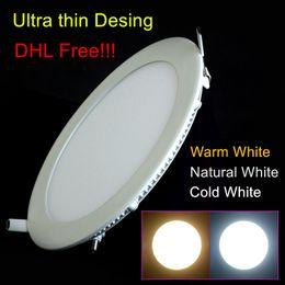 Pannello di griglia di luce online-DHL 20 pz / lotto Ultra sottile Design 25 W Soffitto Incasso Griglia LED Downlight Slim Round / Square Panel Light