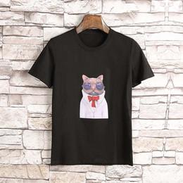 Wholesale M Glasses - America Brand Male Short Sleeve Embroidery Animal Cat wearing glasses print T-Shirts Mens Casual Mens Slim Tshirt Slim Tee with tags M-3XL