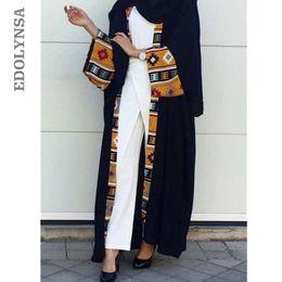 e181367b08f Avant Noir Rose Ouvert Abaya À Dubaï Kimono Patchwork À Manches Longues  Maxi Robe Musulmane Soirée Maroc Caftan Arabe Style Aue D540