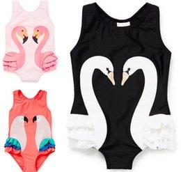 Платье девочка ребенок черный розовый онлайн-Цельный дети девочки Детские купальники Черный лебедь Розовый фламинго дыня попугай купальник шапочка для купания Принцесса платья одежда Y145